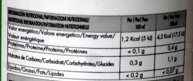 Pertres Drink - Valori nutrizionali - fr