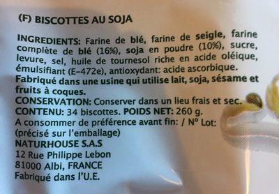 Fibroki biscottes soja - Ingrédients - fr