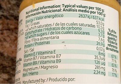 Crema de cacahuetes ecológica sin gluten y sin - Nutrition facts - es
