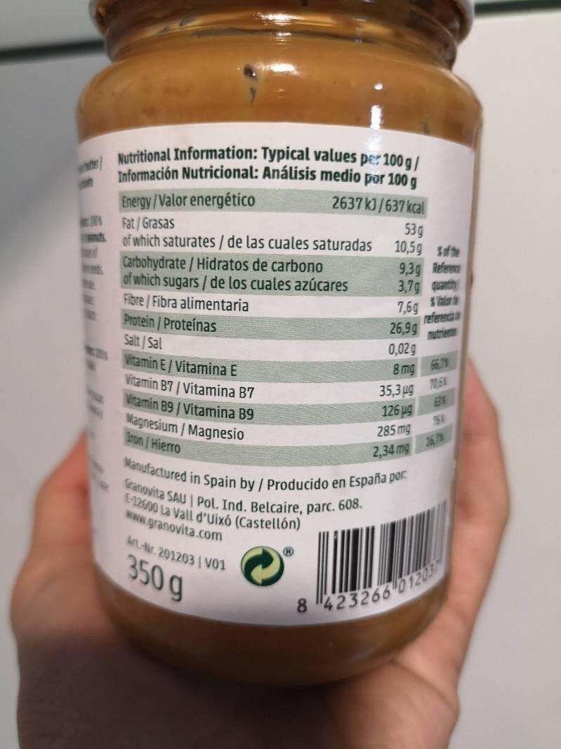 Peanut butter - Voedingswaarden - es