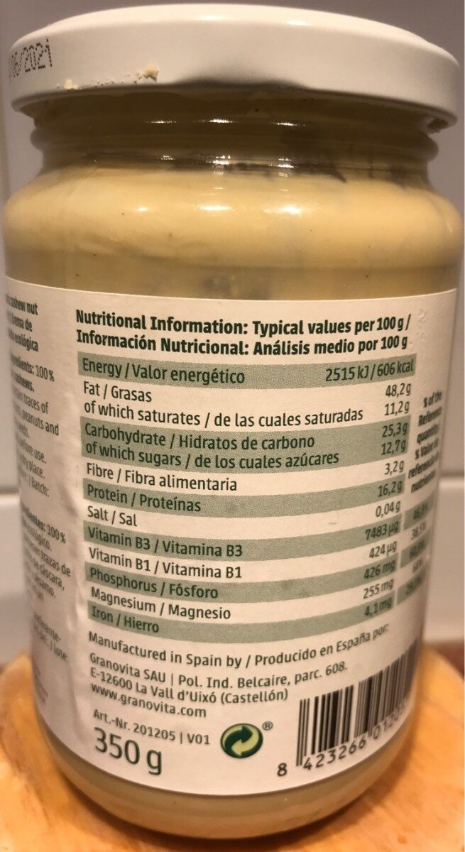 Crema de anacardo ecológica sin gluten y sin - Informations nutritionnelles - es