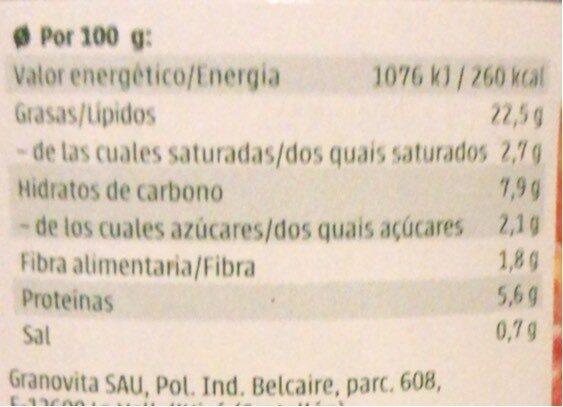 Paté Tofu-Mejicano - Informations nutritionnelles - es