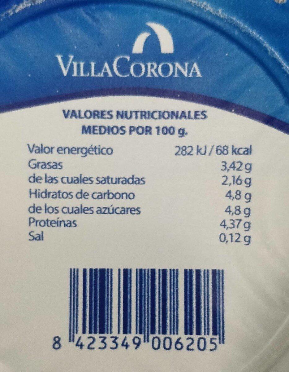 Yogur Natural - Informations nutritionnelles