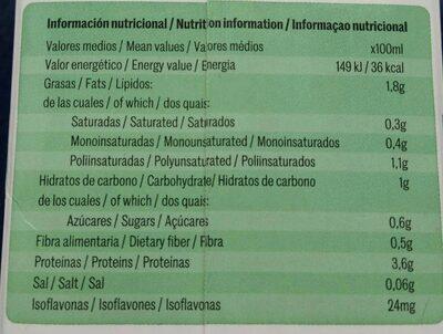 Bebida de soja - Información nutricional - es