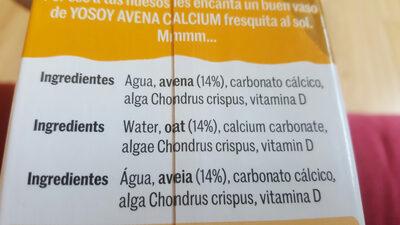 Bebida de avena calcium - Ingredients - es