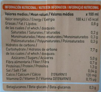 Bebida de avena calcium - Información nutricional
