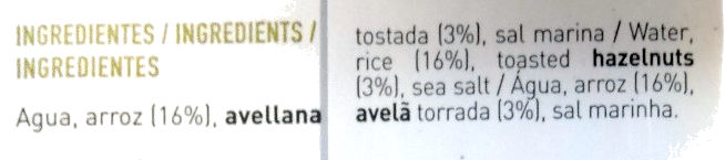 Bebida de arroz + avellanas - Ingredientes - es