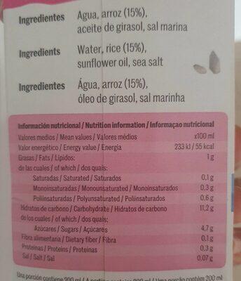 Bebida de arroz - Información nutricional - es
