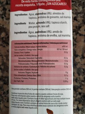 Bebida de almendras - Información nutricional