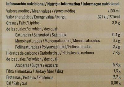 Yosoy bebida de avena y nueves - Informations nutritionnelles - es