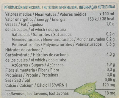 Bebida de Soja Ecologica - Información nutricional