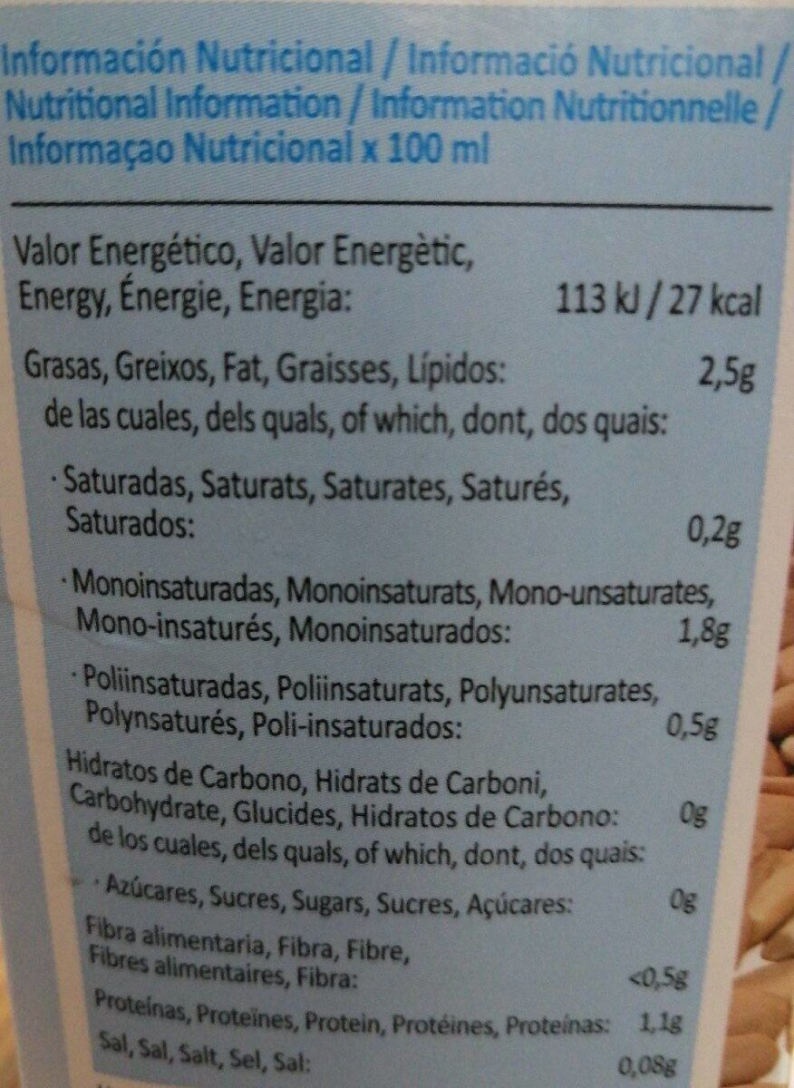 Bebida de almendras sin azúcares - Información nutricional - es