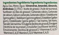 Leche de almendras sin azúcares - Ingredientes