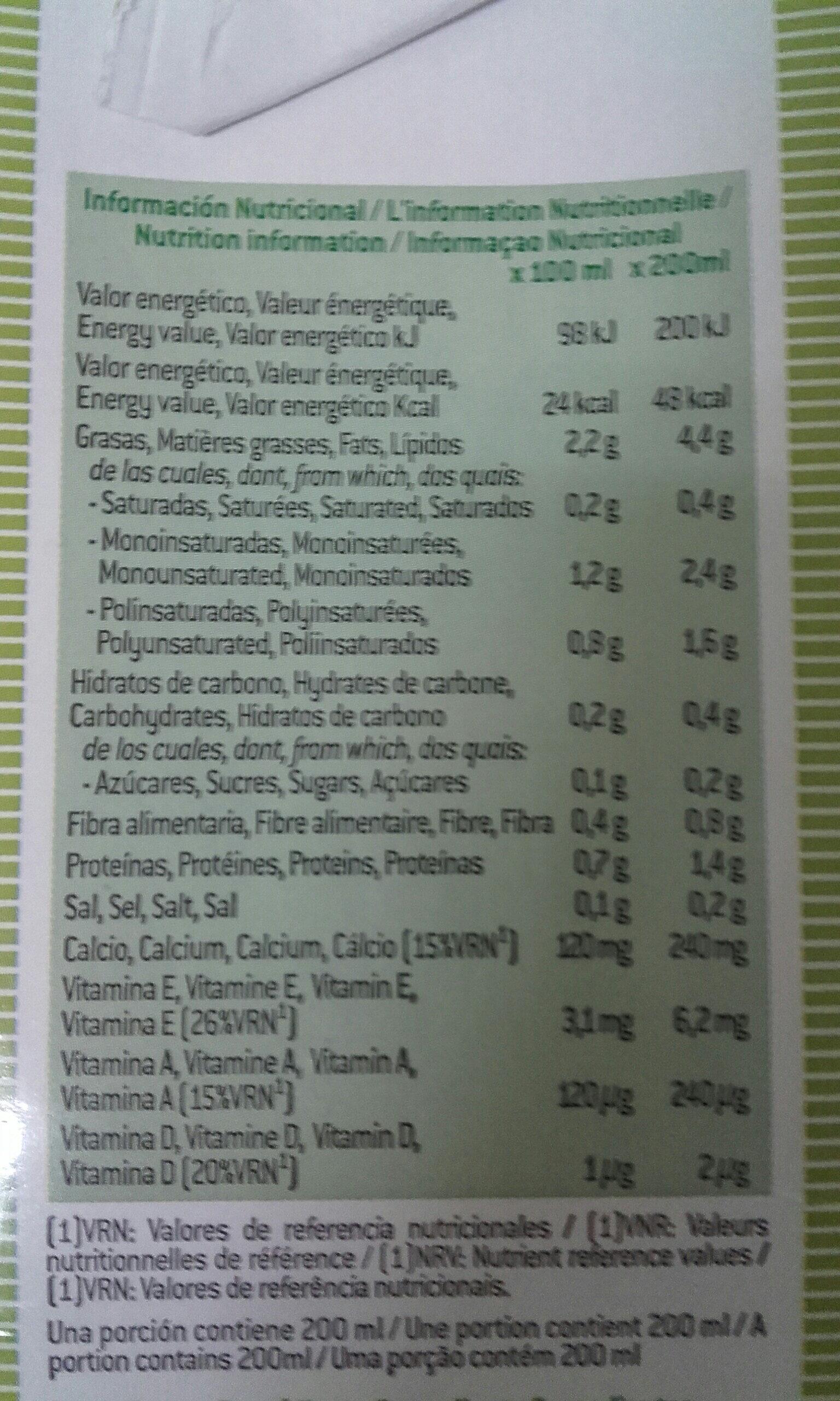Leche de almendras sin azúcares - Información nutricional