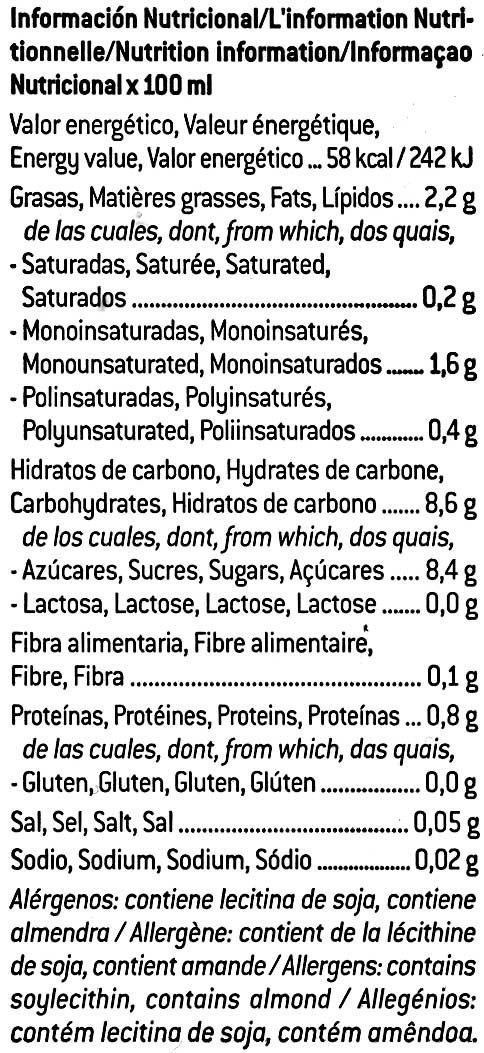 Leche De Almendras - Nutrition facts - es