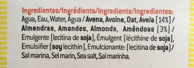 Bebida de avena con almendras - Ingrediënten - es