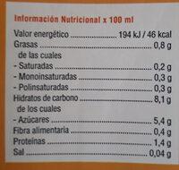Bebida de avena - Información nutricional - es