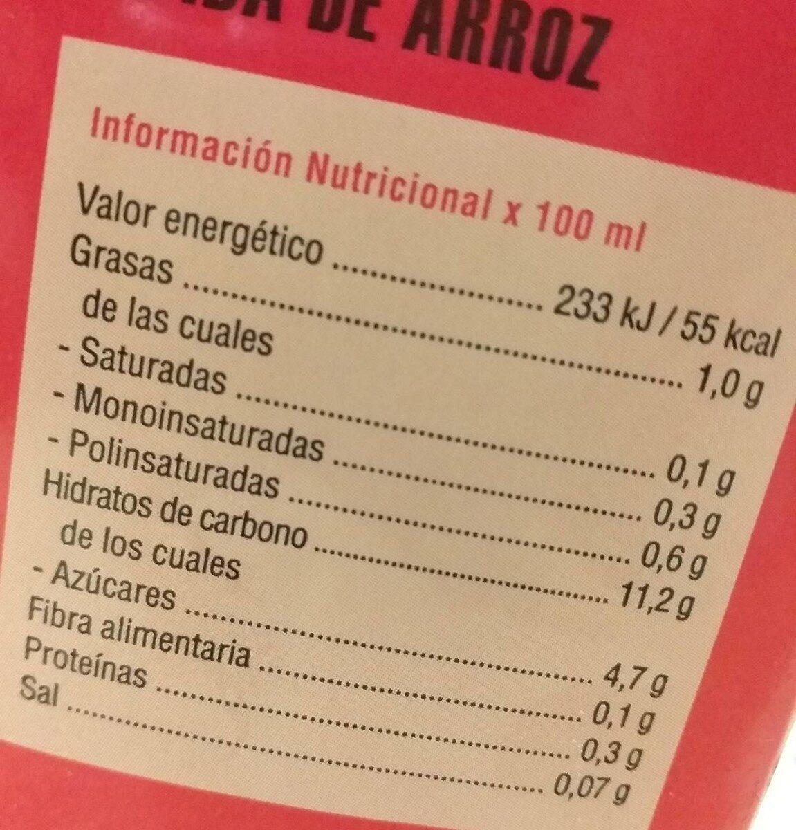 Bebida De Arroz - Voedingswaarden