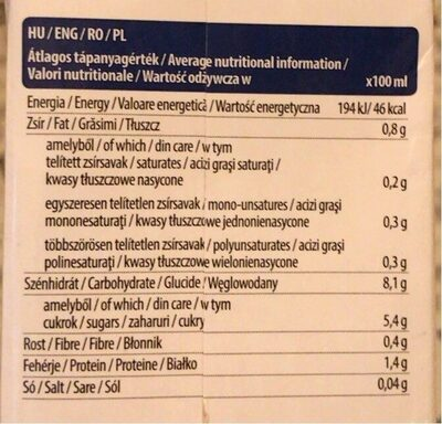 Oat Milk - Informations nutritionnelles - hu