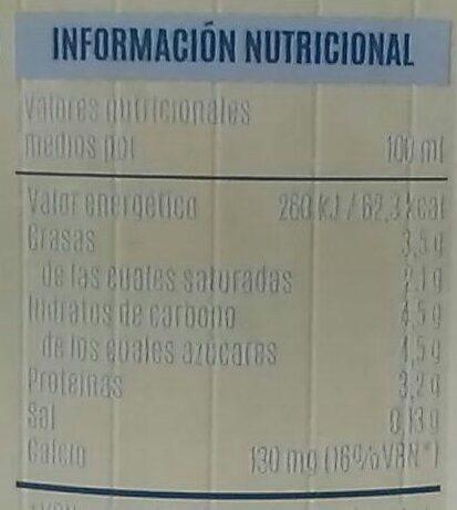 Leche fresca entera pasteurizada - Informació nutricional