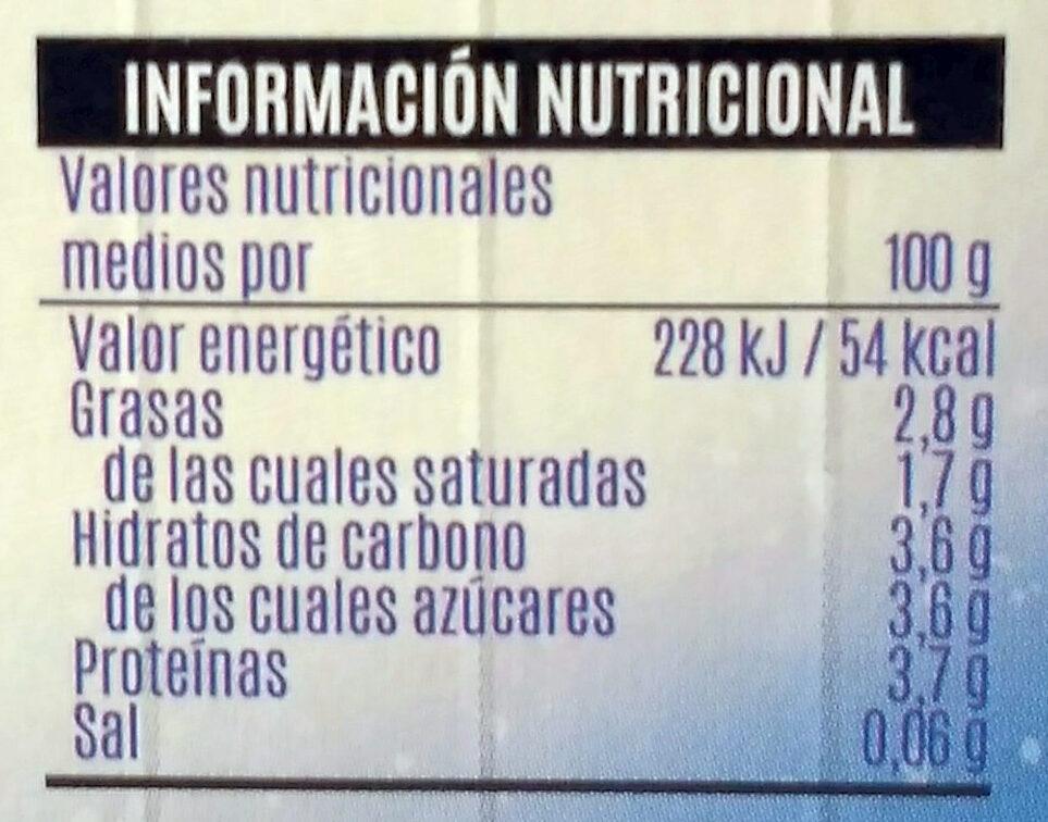 Yogur cremoso natural - Información nutricional - es