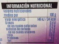 Yogurt cremoso desnatado natural - Información nutricional