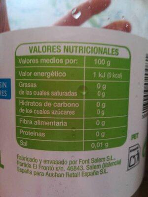 Gaseosa Auchan sin azucares - Informació nutricional