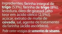 Pão Tostado Integral - Ingredients