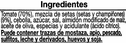 Salsa con setas - Ingrediënten - es