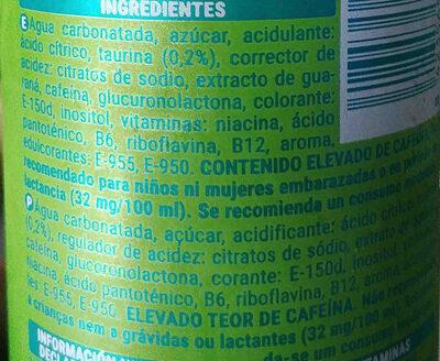 Energy Drink - Ingredientes - es