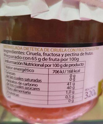 Mermelada dietetica ciruela - Información nutricional