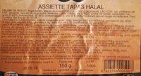 Assiette tapas halal - Informations nutritionnelles - fr
