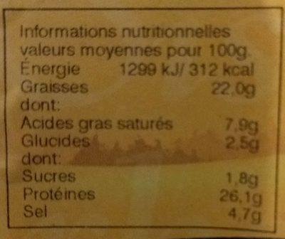 Salchichon de dinde extra halal - Informations nutritionnelles - fr