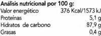 Algarroba en polvo - Informations nutritionnelles - es