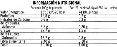 Caldo de verduras ecológico y sin gluten - Información nutricional - es