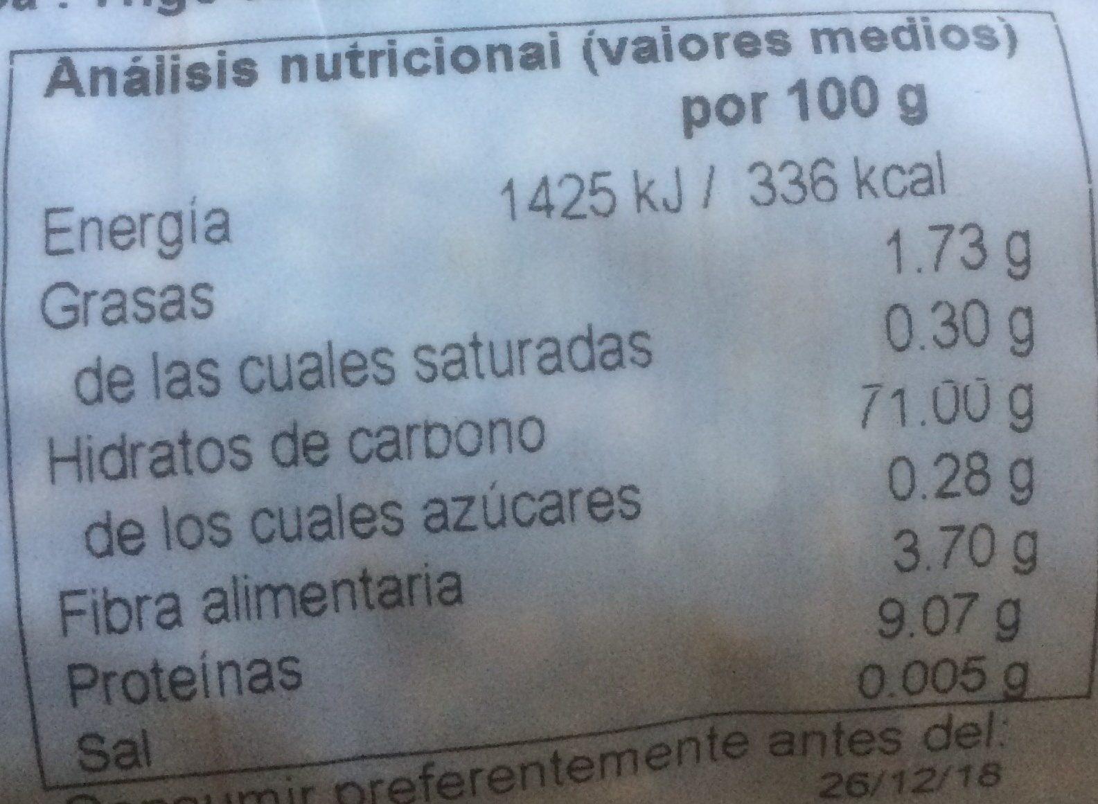 Trigo sarraceno - Informations nutritionnelles - fr