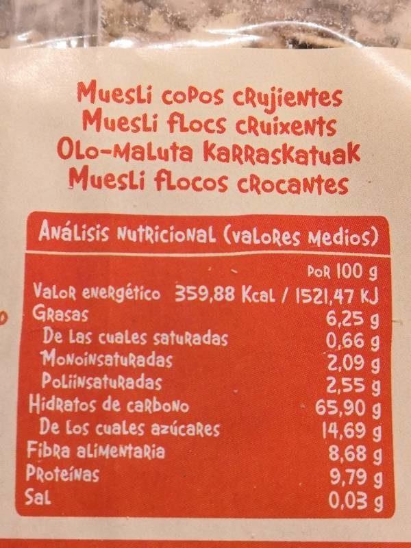 Muesli Copos Crujientes - Información nutricional - es