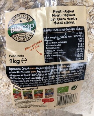 Muesli copos crujientes ecológico - Voedingswaarden