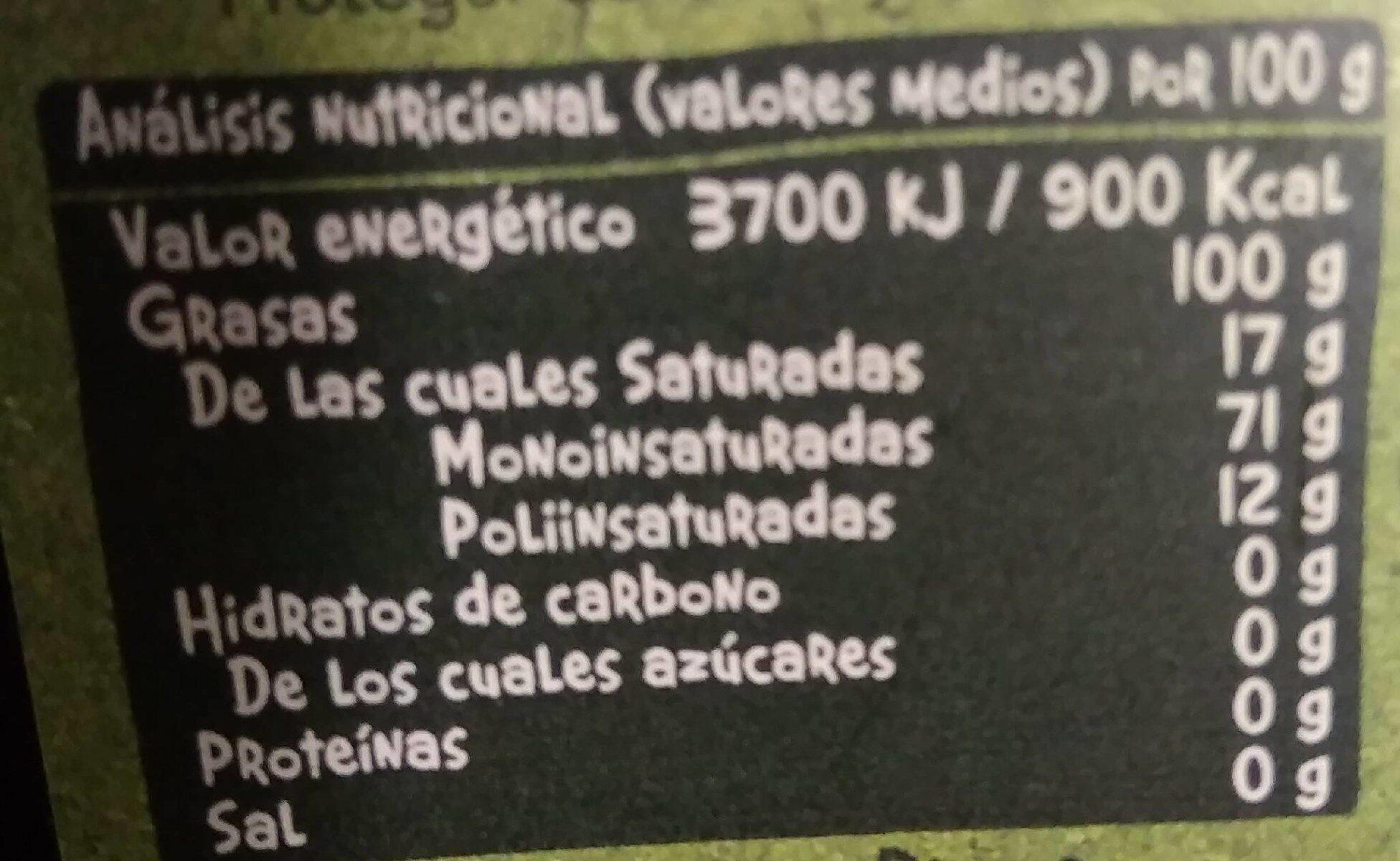 Aceite de oliva - Nutrition facts - es