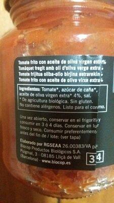 Tomate frito - Informació nutricional