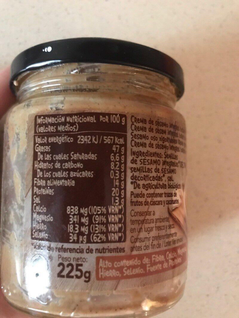Tahin con sal - Información nutricional - es