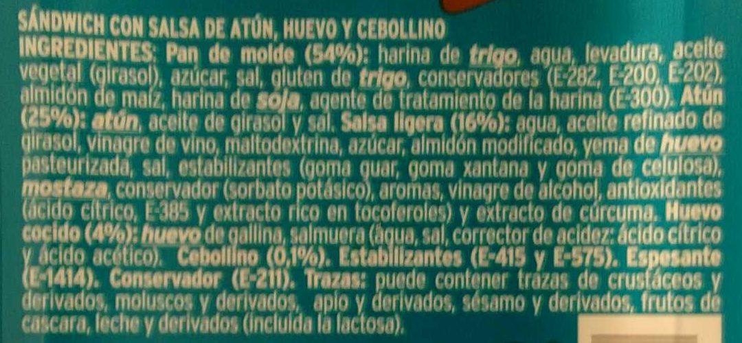 Sandwich thon - Ingredientes - es