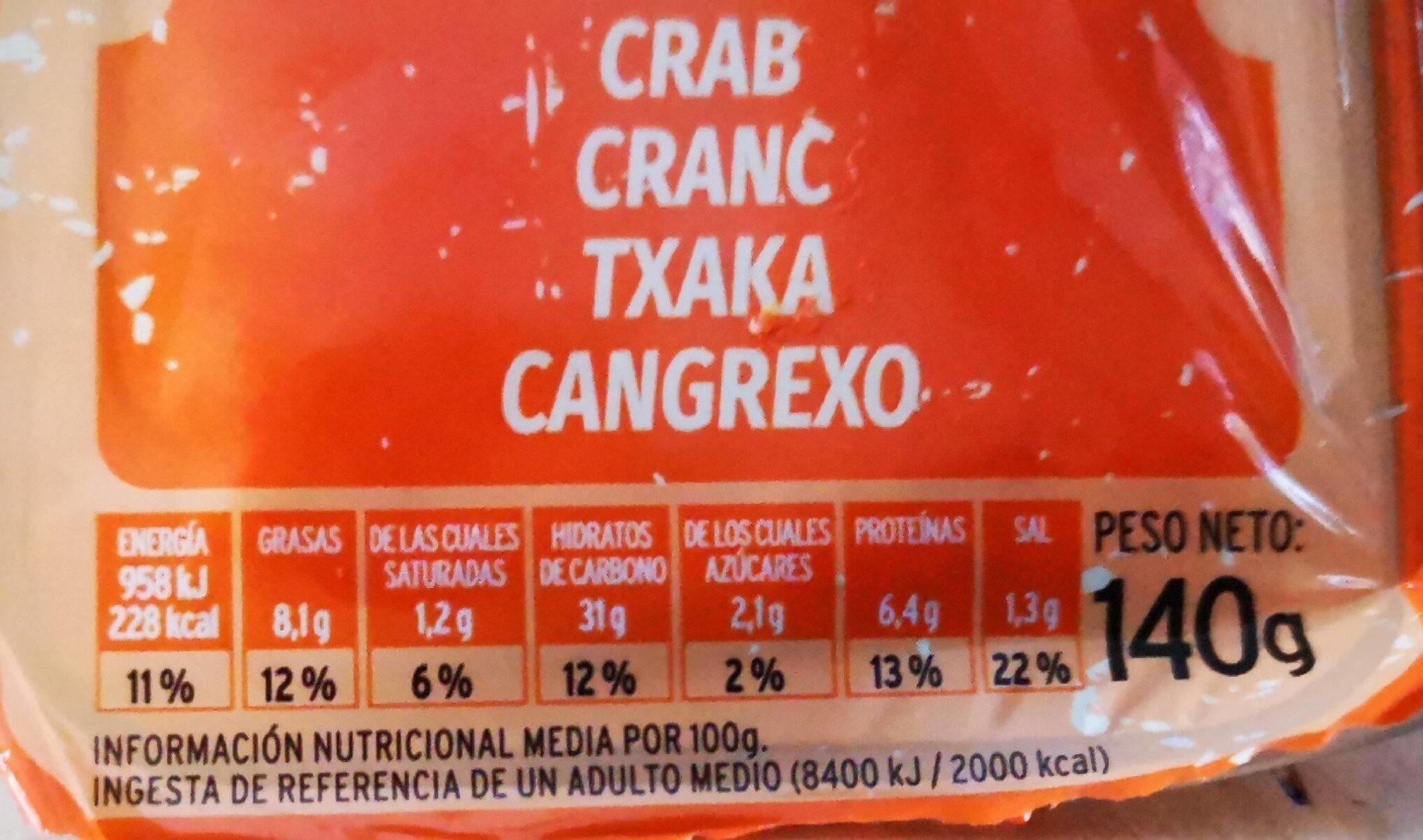 Sandwich cangrejo - Voedingswaarden - es