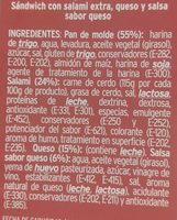 Sandwich salami y queso - Ingredients
