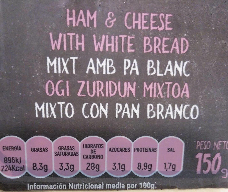 Mixto especial Sandwich - Información nutricional