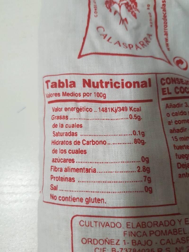 Arroz D.O. Calasparra saco 1 kg - Informations nutritionnelles