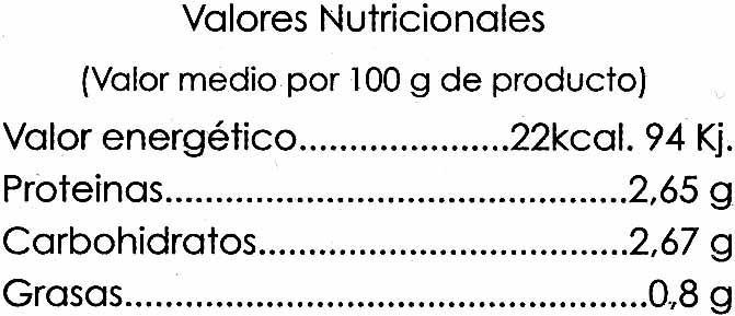 Espárragos verdes El Campanillo - Informació nutricional