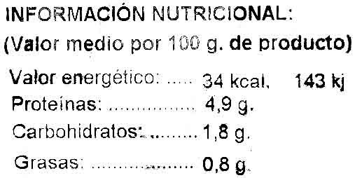 Boletus edulis ultracongelados - Información nutricional - es
