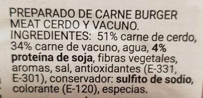 Burger meat mixta cerdo + vacuno - Ingredientes - es