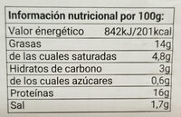 Burger meat mixta cerdo + vacuno - Información nutricional - es